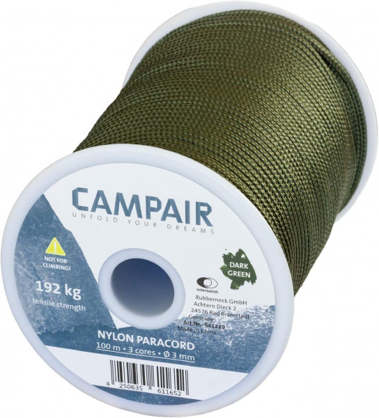 CampAir Paracord Nylon Seil, 425 Type II 3mm, Max. 192 kg, 100m Spule